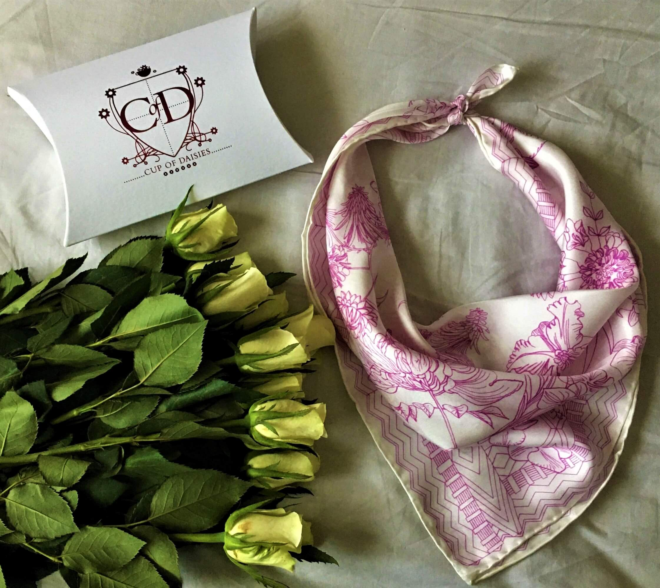 Cup of Daisies - Purple Scarf