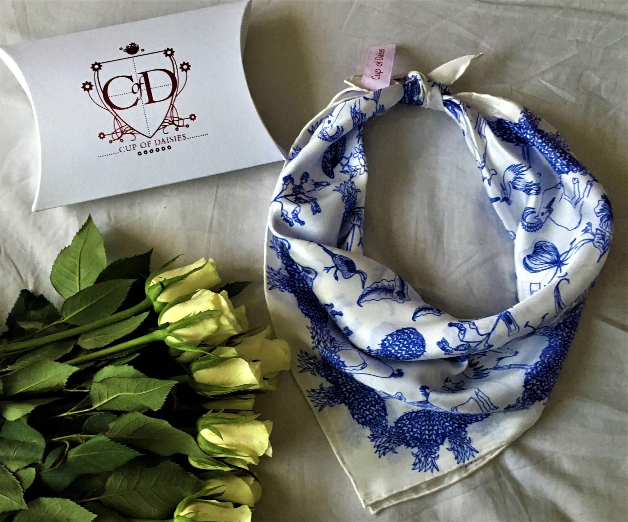 Cup of Daisies - Blue Scarf